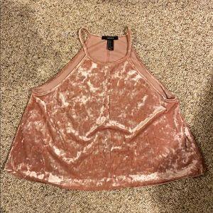 Pink Velvet Halter Tank Top